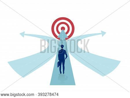 Businessman Standing In Front Of A Crossroad With Road Split In Three Different Ways As Arrows.