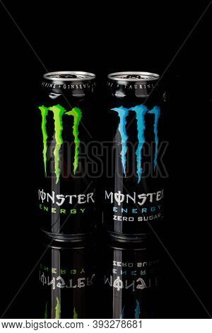 London, United Kingdom, 14th October 2020:- Cans Of Monster & Sugar Free Energy Drinks Isolated On A