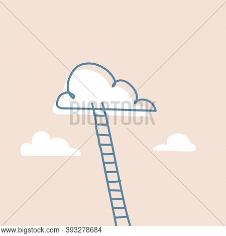 Stepladder Leading To The Clouds As Success And Progress Metaphor Concept. Reaching Dreams And Life