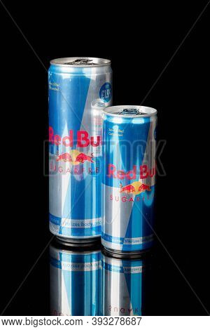 London, United Kingdom, 14th October 2020:- Large & Small Cans Of Red Bull Sugar Free Energy Drink I
