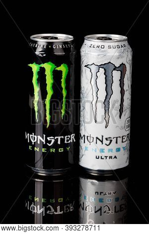 London, United Kingdom, 14th October 2020:- Cans Of Monster & Sugar Free Ultra Energy Drinks Isolate
