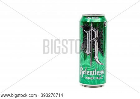London, United Kingdom, 14th October 2020:- A Can Of Relentless Apple Kiwi Energy Drink Isolated On