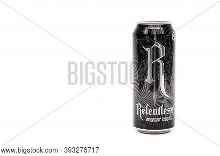 London, United Kingdom, 14th October 2020:- A Can Of Relentless Origin Energy Drink Isolated On A Wh