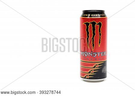 London, United Kingdom, 14th October 2020:- A Can Of Monster Lewis Hamilton Energy Drink Isolated On