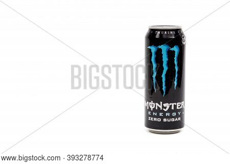 London, United Kingdom, 14th October 2020:- A Can Of Monster Zero Sugar Energy Drink Isolated On A W