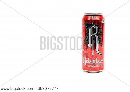 London, United Kingdom, 14th October 2020:- A Can Of Relentless Cherry Energy Drink Isolated On A Wh