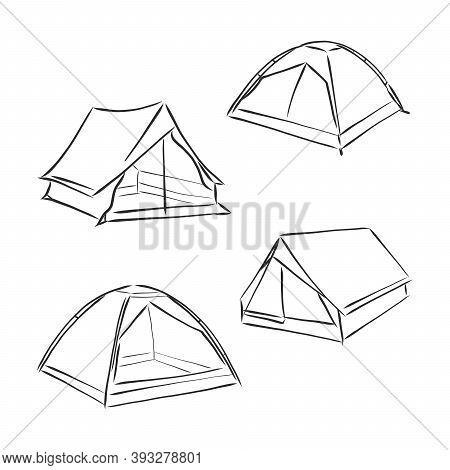 Tent Vector Sketch Illustration. Cute Old Temporal Nylon Bivvy Stretched A Rope Tied To Wooden Peg I
