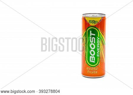 London, United Kingdom, 14th October 2020:- A Can Of Boost Energy Exotic Fruits Energy Drink Isolate