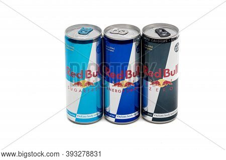 London, United Kingdom, 14th October 2020:- Cans Of Red Bull, Sugar Free & Zero Energy Drinks Isolat
