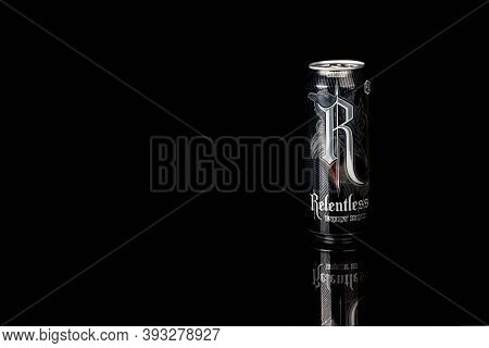London, United Kingdom, 14th October 2020:- A Can Of Relentless Origin Energy Drink Isolated On A Bl