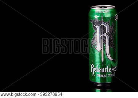 London, United Kingdom, 14th October 2020:- A Can Of Apple Kiwi Relentless Energy Drink Isolated On