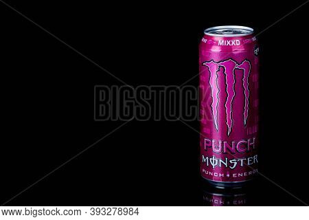 London, United Kingdom, 14th October 2020:- A Can Of Monster Mixxd Energy Drink Isolated On A Black