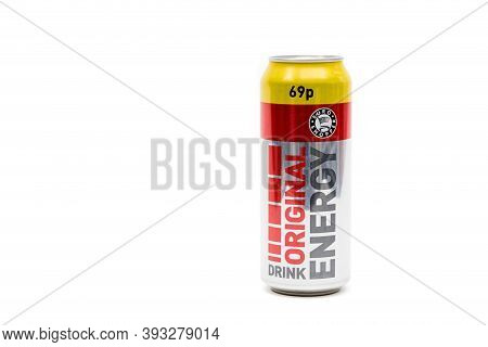 London, United Kingdom, 14th October 2020:- A Can Of Original Energy Drink Energy Drink Isolated On