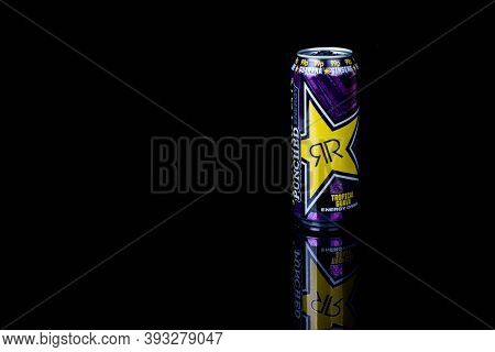 London, United Kingdom, 14th October 2020:- A Can Of Rockstar Tropical Guava Energy Drink Isolated O