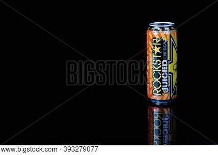 London, United Kingdom, 14th October 2020:- A Can Of Rockstar Mango Orange Passionfruit Energy Drink