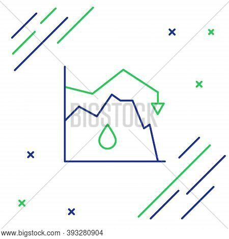 Line Drop In Crude Oil Price Icon Isolated On White Background. Oil Industry Crisis Concept. Colorfu