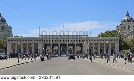 Vienna, Austria - July 11, 2015: Crowd Of People At Burgtor Outer Castle Gate At Sunny Summer Day  I