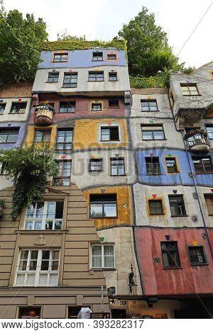 Vienna, Austria - July 12, 2015: Famous Colour Organic Apartment Buildings By Architect Hundertwasse