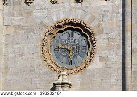 Vienna, Austria - July 10, 2015: Glass Clock At Saint Stephen Cathedral In Wien, Austria.