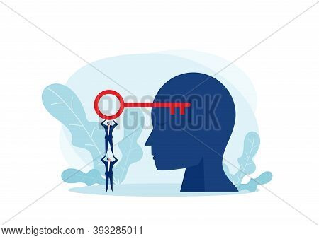 Team Businessman Holding Big Key Resolution In Hand Silhouette Of A Head With A Keyhole Unlocking Mi
