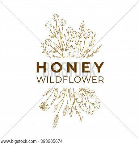 Honey Label For Package. Wildflower Logo Sketch With Text. Floral Emblem, Honey Design. Outline Vint