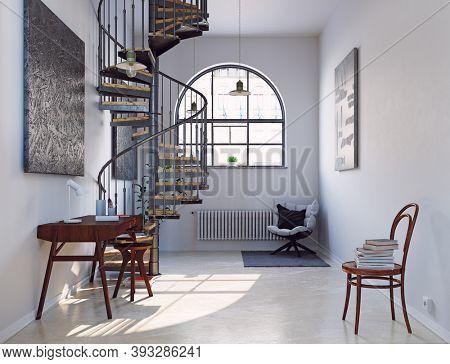 modern home office interior. 3d rendering