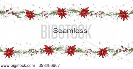 Seamless Vector Frame Of Winter Flowers, Poinsettias And Branches Of Rowan. Hand-drawn Sketch, Doodl