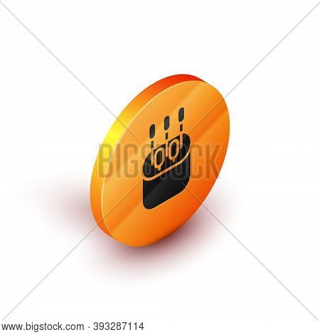 Isometric Cotton Swab For Ears Icon Isolated On White Background. Orange Circle Button. Vector Illus