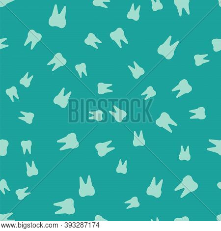 Green Tooth Icon Isolated Seamless Pattern On Green Background. Tooth Symbol For Dentistry Clinic Or