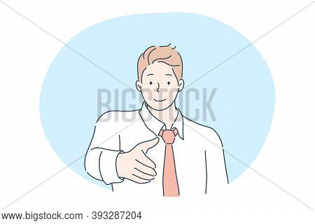 Meeting, Greeting, Business Deal, Recruitment, Employment Concept. Smiling Businessman Cartoon Chara