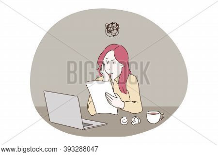 Anxiety, Fatigue, Business Concept. Project Deadline Frustration Depression Mental Stress And Headac