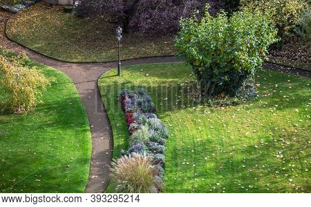 paths in the park with flowers