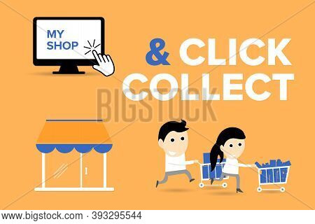 Click And Collect Concept. E-commerce Click And Collect Online Ordering Service Symbol. Shopping Bag