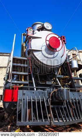 beautiful old steam locomotive close up