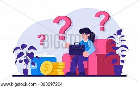 Sad Woman Concerned About Financial Problem. Money Need And Unpaid Loan Debts. Character, Question M