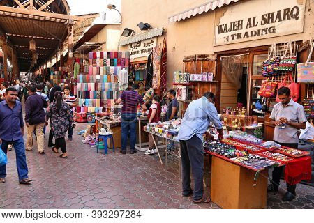 Dubai, Uae - December 9, 2017: People Visit The Textile Market Place In Bur Dubai, Uae. Dubai Is The