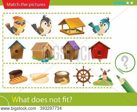 Logic Puzzle For Kids. What Does Not Fit? Birds. Birdhouses. Bread Making. Matching Game, Education