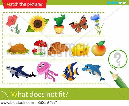 Logic Puzzle For Kids. What Does Not Fit? Plants. Food Or Foodstuff. Fish. Matching Game, Education
