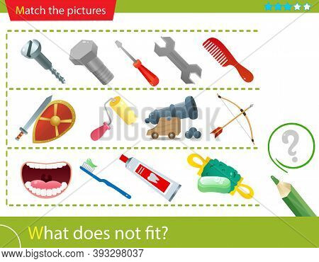 Logic Puzzle For Kids. What Does Not Fit? Household Tools. Weapons. Dental Hygiene. Matching Game, E