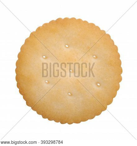 Biscuit Texture Closeup Details Isolated On White; Single Butter Circle Biscuits On White, Top View.