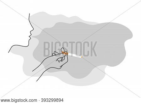 Stop Smoking Decoration With Thin Line Woman Hand And Cloud Of Harmful Smoke (as A Copyspace For Tex