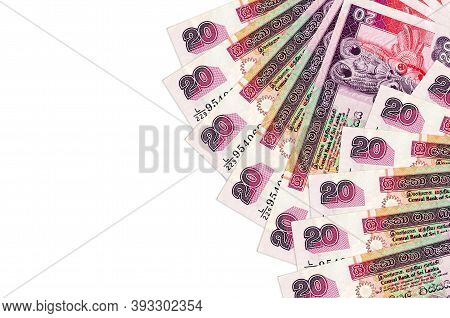 20 Sri Lankan Rupees Bills Lies Isolated On White Background With Copy Space. Rich Life Conceptual B