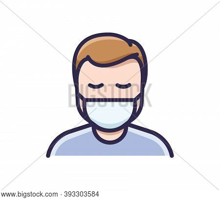 Person In Medical Face Protection Mask. Vector Icon Of A Depressed And Tired Man Wearing A Protectiv