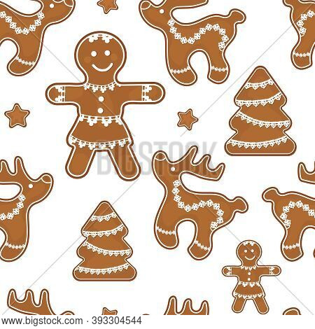 Gingerbread Christmas Deer, Men And Christmas Trees Decorated With Openwork Braid For Decoration On