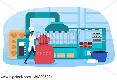Automatic Machine For Production Of Chocolate, Confectioner Controlling The Production Process. Swee