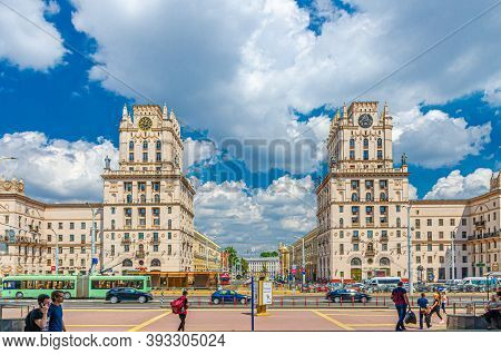 Minsk, Belarus, July 26, 2020: The Gates Of Minsk Two Tall Towers Socialist Classicism Stalin Empire
