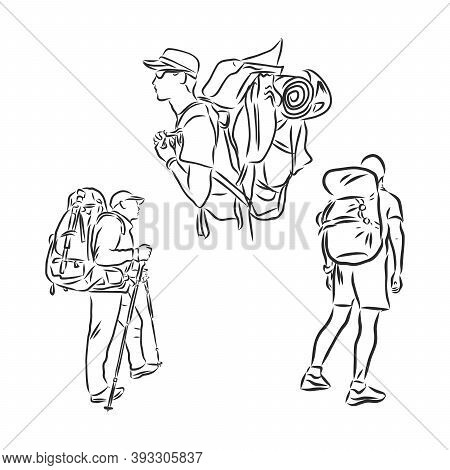 Tourist With A Backpack Vector Sketch Illustration. Sketch Of Man With Backpack On Top Of Mountain H