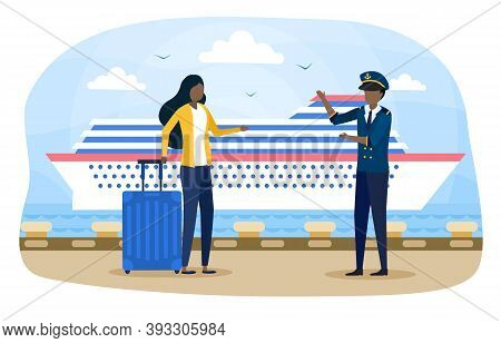 Woman And Harbor Employee At Harbour Pier. Ship Transportation. Concept Of Cruise Travelling. Cruise