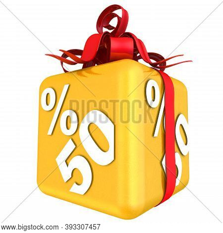 Fifty Percent As A Gift. The Gold Cube With The Inscription Fifty Percent Is Tied With A Scarlet Rib