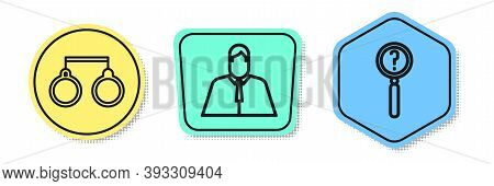 Set Line Handcuffs, Lawyer, Attorney, Jurist And Magnifying Glass With Search. Colored Shapes. Vecto